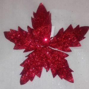 Flor navidad Roja Escarchada