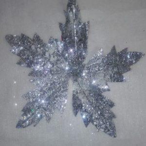 Flor Navidad Plata Escarchada