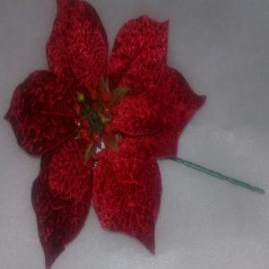 Flor poinsettia rojo gamuzado