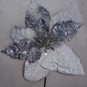 Flor Poinsetia Blanca-Plata