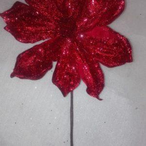 Flor Poinsetia Roja Escarcha